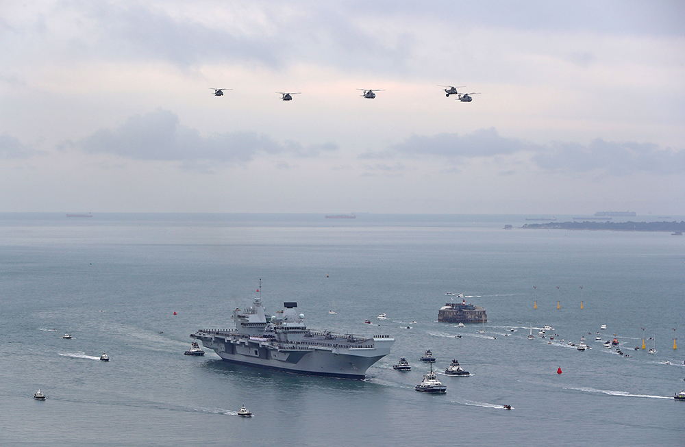 HMS Queen Elizabeth sails into her home port of Portsmouth for the first time, design by Tex Special Projects