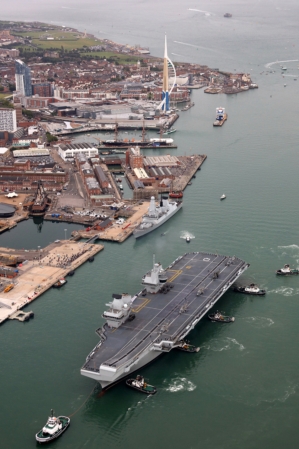 HMS Queen Elizabeth sails into her home port of Portsmouth for the first time, design and engineering by Tex Special Projects.